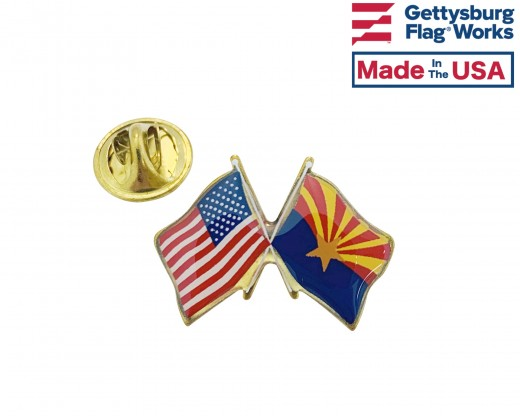 Arizona State Flag Lapel Pin (Double Waving Flag w/USA) (Imported - Close Out)