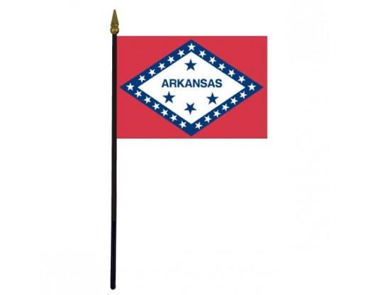 "Arkansas State Stick Flag - 4x6"""