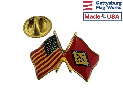 Arkansas State Flag Lapel Pin (Double Waving Flag w/USA)