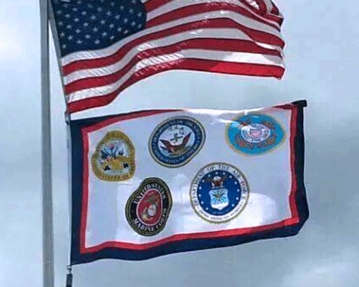 US Armed Forces Flag Flying