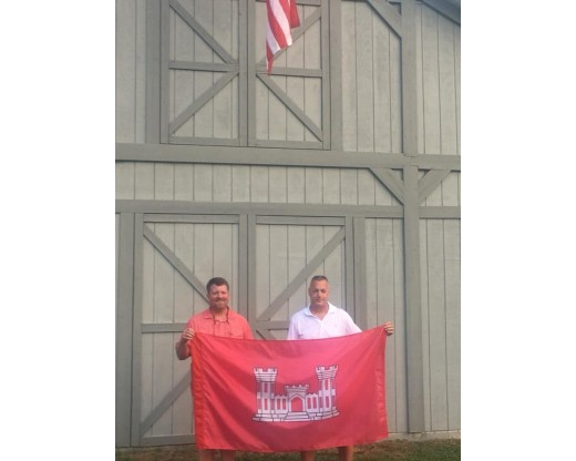 Army Engineer Flag - customers holding