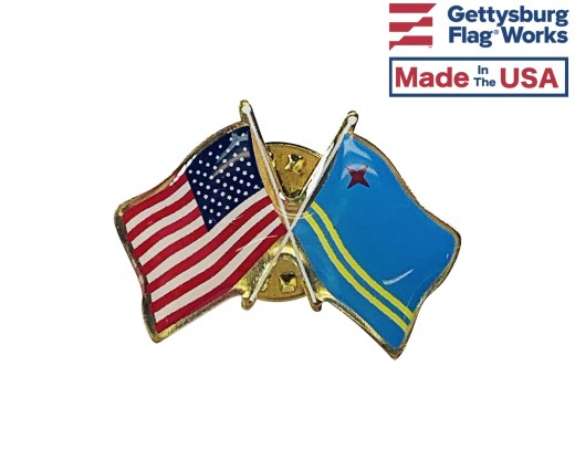 Aruba Lapel Pin (Double Waving Flag w/USA)