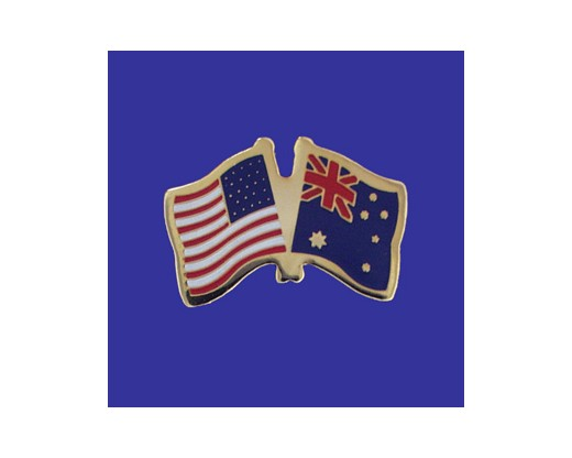 Australia Lapel Pin (Double Waving Flag w/USA) (Imported - Close Out)