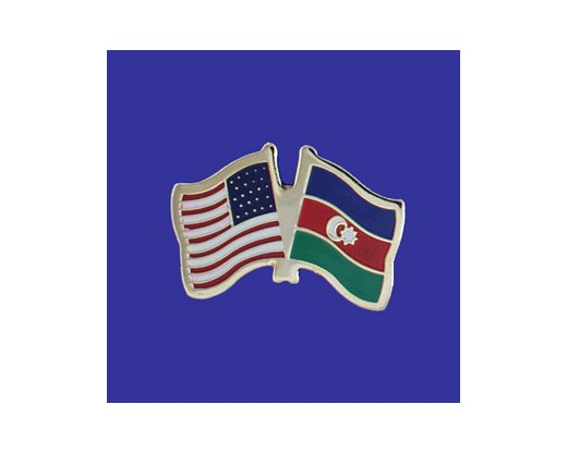 Azerbaijan Lapel Pin (Double Waving Flag w/USA)