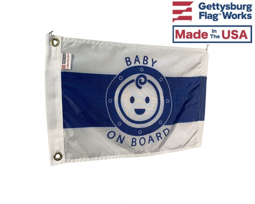 Baby on board boat flag side view