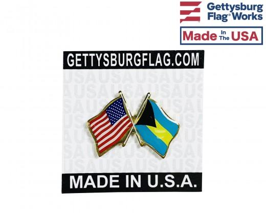 Bahamas Lapel Pin (Double Waving Flag w/USA)
