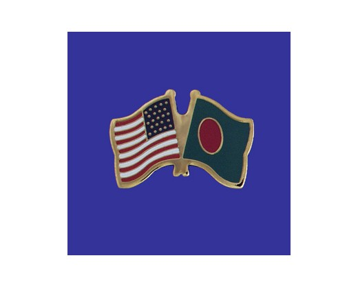 Bangladesh Lapel Pin (Double Waving Flag w/USA)