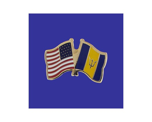 Barbados Lapel Pin (Double Waving Flag w/USA)