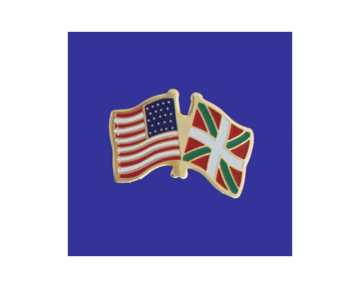 Basque Country Lapel Pin (Double Waving Flag w/USA)