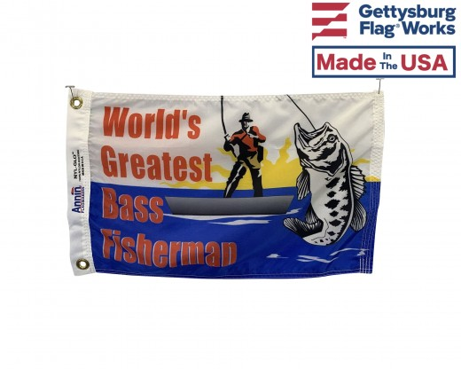 "Bass Fisherman Flag - 12x18"""