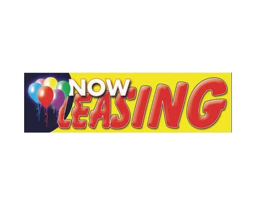 Now Leasing Banner - Red Letters