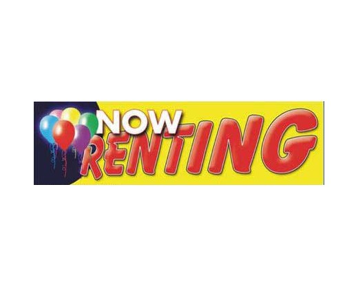 Now Renting Banner - Red Letters