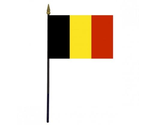"""Belgium Stick Flag - 4x6"""""""