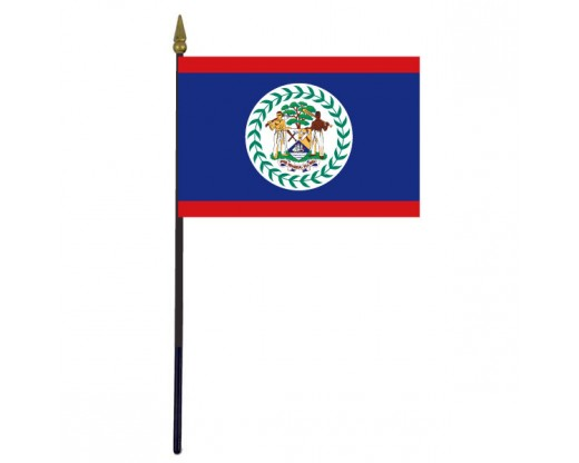 Belize Stick Flag - 4x6""