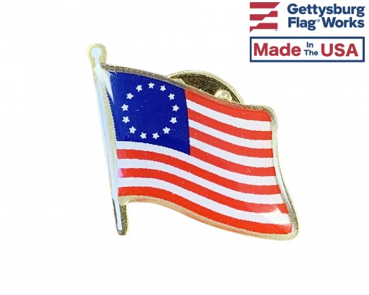 Betsy Ross Lapel Pin (Single Waving Flag)