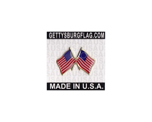 Betsy Ross Lapel Pin (Double Waving Flag w/USA)