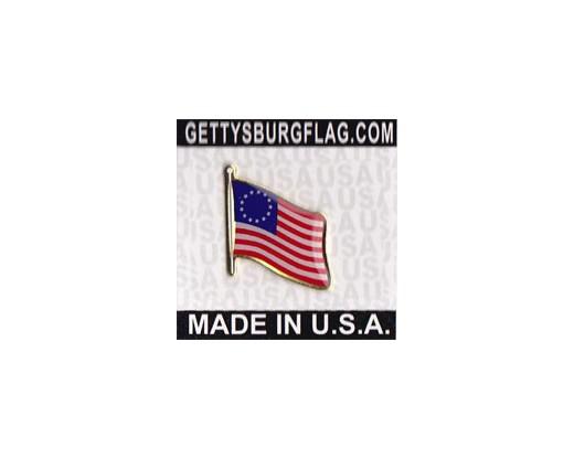 Betsy Ross Lapel Pin (Single Waving Flag)