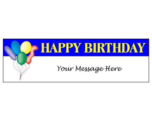 Happy Birthday Balloons Banner Blue Holiday Celebration Flags