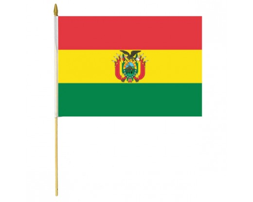 Bolivia Stick Flag (with Seal)