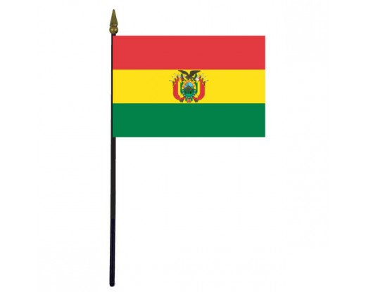 Bolivia Stick Flag (with seal) - 4x6""