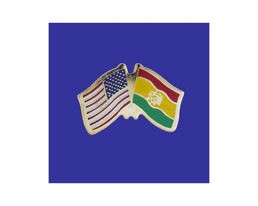 Bolivia (seal design) Lapel Pin (Double Waving Flag w/USA)