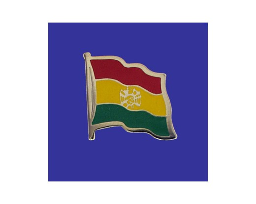 Bolivia (seal design) Lapel Pin (Single Waving Flag)