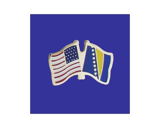 Bosnia-Herzegovina Lapel Pin (Double Waving Flag w/USA)
