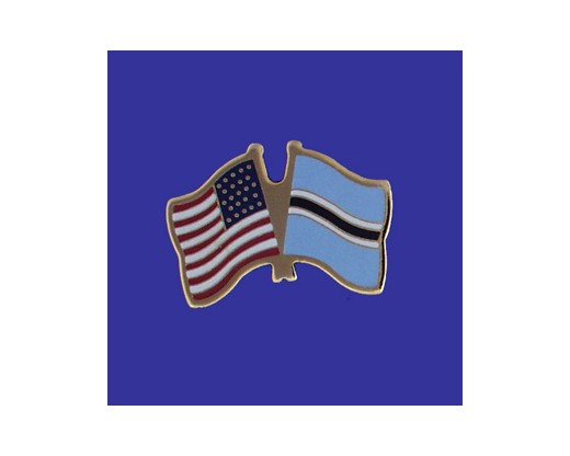 Botswana Lapel Pin (Double Waving Flag w/USA)