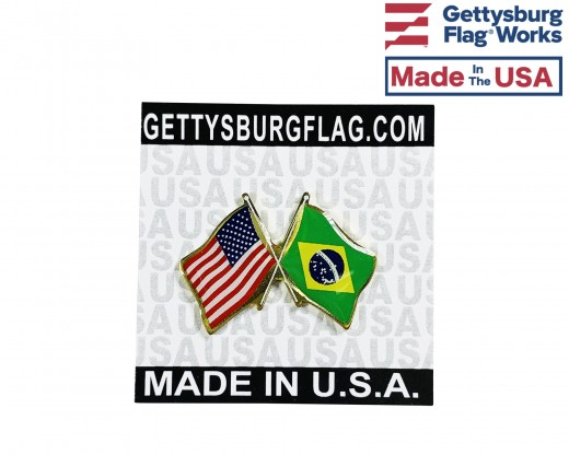 Brazil Lapel Pin (Double Waving Flag w/USA)