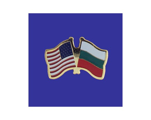 Bulgaria Lapel Pin (Double Waving Flag w/USA)
