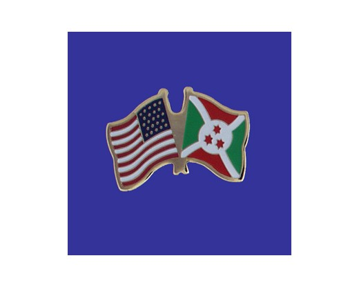 Burundi Lapel Pin (Double Waving Flag w/USA)