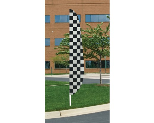"""12'x26"""" Black/White Checkered Feather Flag"""