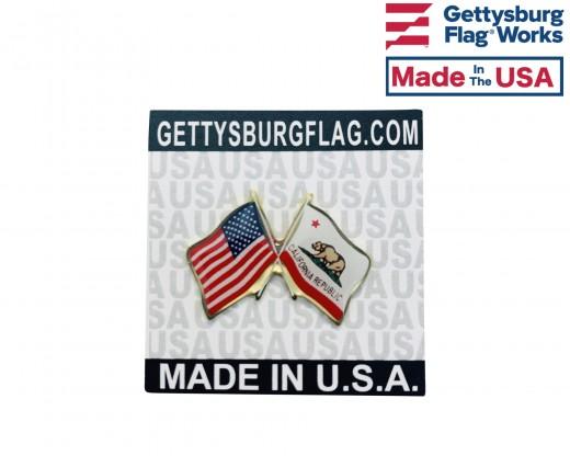 California Lapel Pin (Double Waving Flag w/USA)