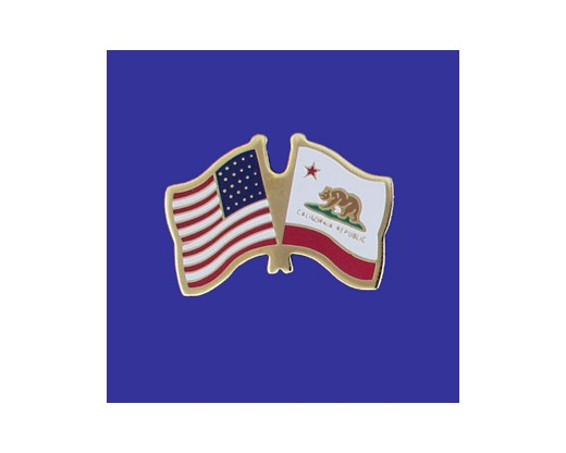 California State Flag Lapel Pin (Double Waving Flag w/USA) (Imported - Close Out)