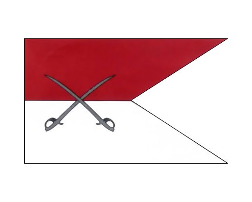 Cavalry Guidon Flag (Red/White Crossed Swords) - 3x5'