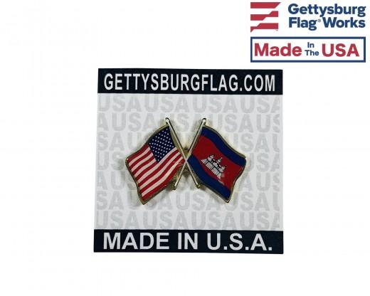 Cambodia Lapel Pin (Double Waving Flag w/USA)