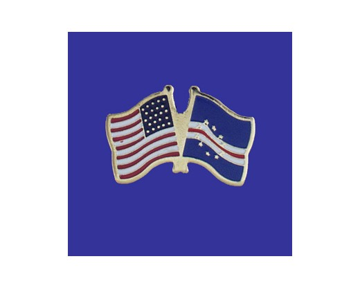 Cape Verde Lapel Pin (Double Waving Flag w/USA)