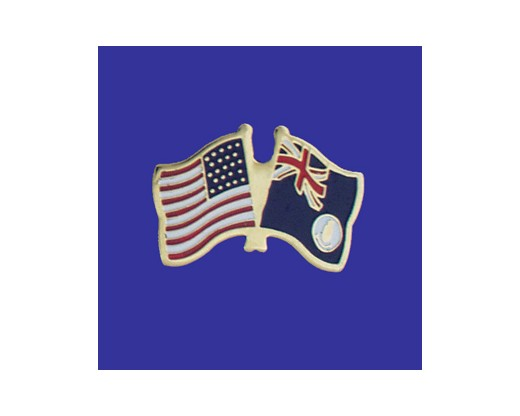 Cayman Island (blue design) Lapel Pin (Double Waving Flag w/USA)