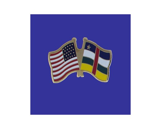 Central African Republic Lapel Pin (Double Waving Flag w/USA)