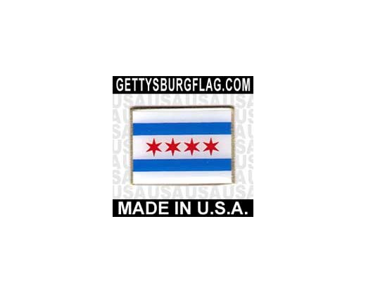Chicago Lapel Pin (Single Rectangle Flag)