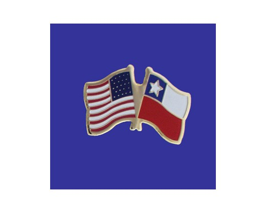 Chile  Lapel Pin (Double Waving Flag w/USA)