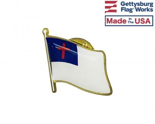 Christian Lapel Pin (Single Waving Flag)