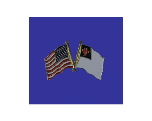 Christian Lapel Pin (Double Waving Flag w/USA) (Imported - Close Out)