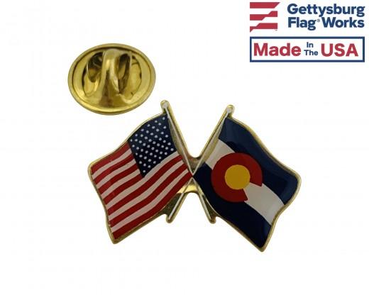 Colorado State Flag Lapel Pin (Double Waving Flag w/USA)