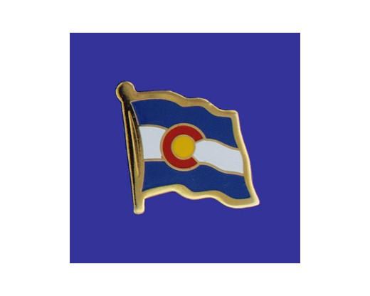 Colorado State Flag Lapel Pin (Single Waving Flag) (Imported - Close Out)
