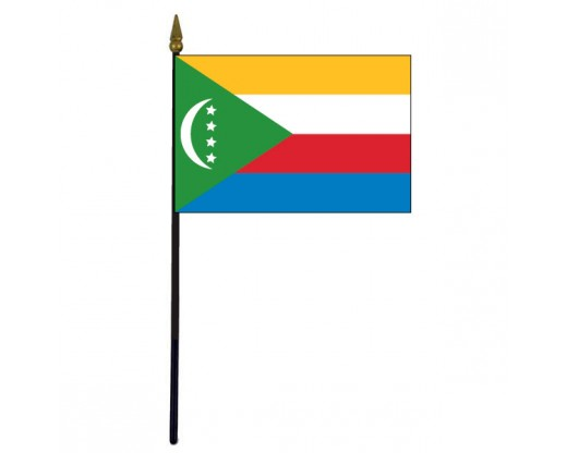 Comoros Stick Flag - 4x6""