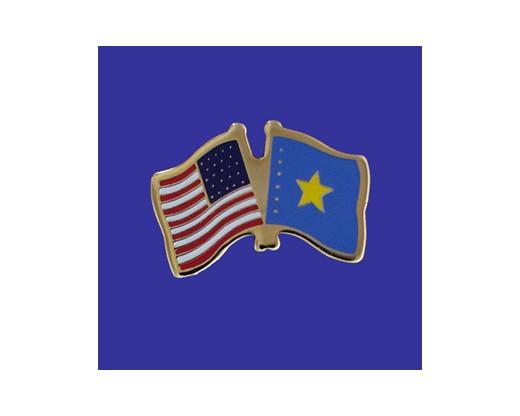 Congo Democratic Republic Lapel Pin (Double Waving Flag w/USA)