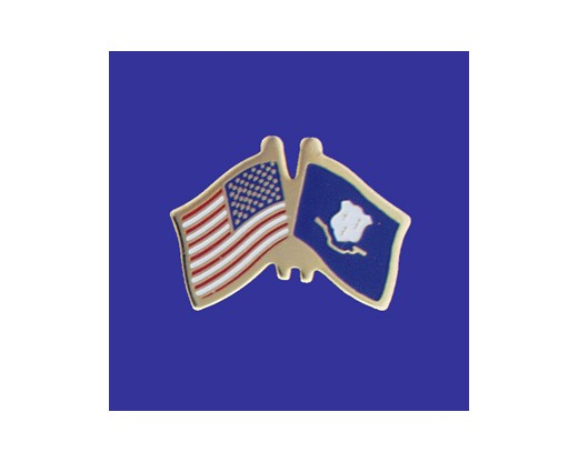Connecticut State Flag Lapel Pin (Double Waving Flag w/USA) (Imported - Close Out)