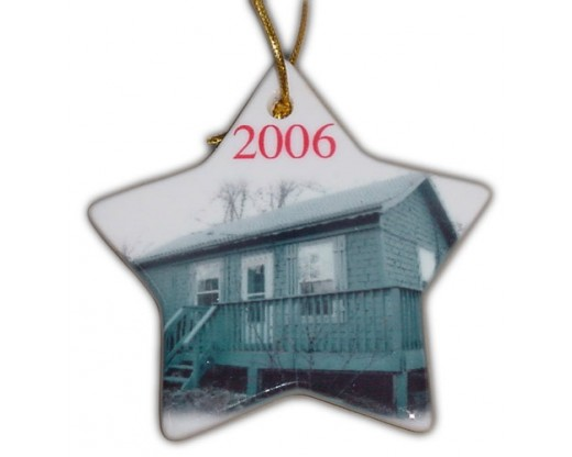 Custom Printed Porcelain Star Christmas Ornament 3""