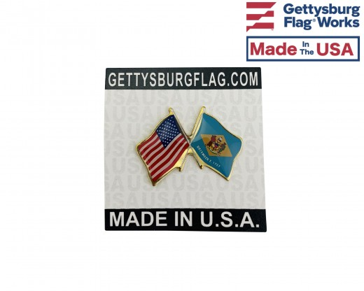Delaware State Flag Lapel Pin (Double Waving Flag w/USA) (Imported - Close Out)